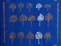 Kolme valkoista lehtipuuta, 2021 akryyli kankaalle 4040, Sarjasta Metsän suojassa