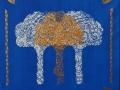 Kultainen lehtipuu, 2021 akryyli kankaalle, 4040 cm, Sarjasta Metsän suojassa